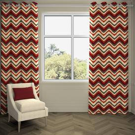 "image-Navajo Red + Burnt Orange Striped Curtains, 595cm(w) x 800cm(d) (234"" x 315"")"