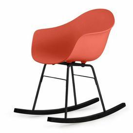 image-Ta Er Rocking Chair - Cream Armchair - Chrome Frame Blatt Colour: Red