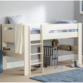 image-Julian Bowen Furniture Pluto Stone White 3ft Midsleeper Bed with Shelves