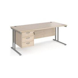 image-Value Line Deluxe C-Leg Rectangular Desk 3 Drawers (Silver Legs), 180wx80dx73h (cm), Maple, Free Standard Delivery