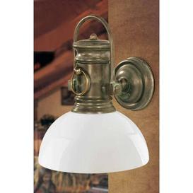 image-Maderia 1 Light Outdoor Wall Lantern Moretti Luce Ausf├╝hrung (des Gestells): Antique brass, Screen Finish: Opaline cream