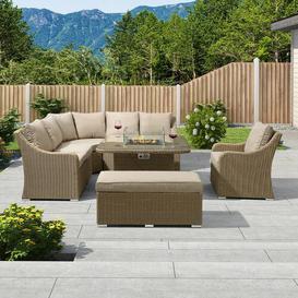 image-Cavanaville 9 Seater Rattan Effect Corner Sofa Set Dakota Fields Colour: Willow/Cream