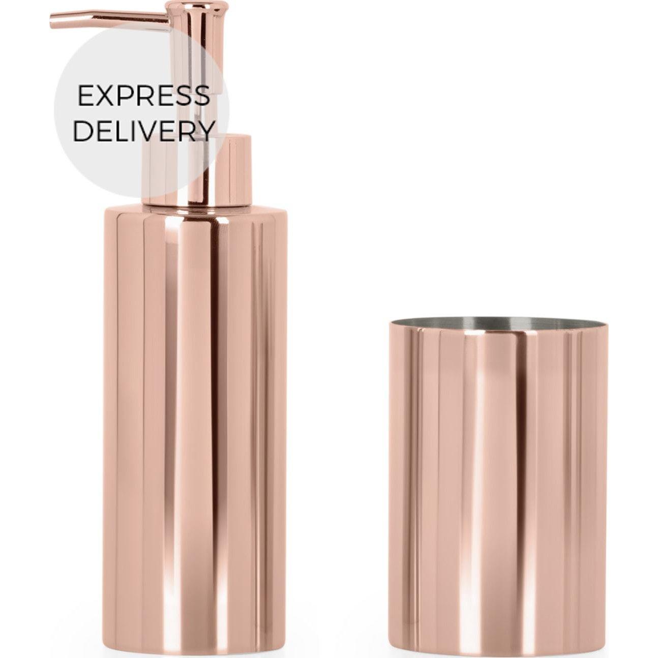 image-Lilo Soap Dispenser & Tumbler Set, Copper