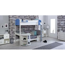 image-Trevino High Sleeper Loft Bed with Shelf and Desk Isabelle & Max Colour (Bed Frame): White/Blue, Colour (Fabric/Accessory): Silver