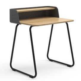 image-Secretary Desk Sedus Frame Colour: Black, Top Colour: Anthracite/Oak, Wireless Charger Type: With EU Wireless Charger