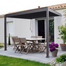 image-Nova Garden Furniture Titan Grey 3m Square Aluminium Wall Mounted Pergola