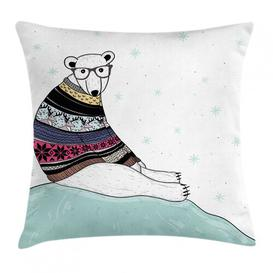 image-Emmanuella Bear Hipster Sweater Christmas Outdoor Cushion Cover Ebern Designs Size: 45cm H x 45cm W