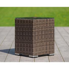 image-Rattan Garden Tall Square Side Table in Truffle Brown - Rattan Direct