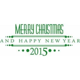 image-Merry Christmas, 2015, Year Wall Sticker East Urban Home Colour: Light green, Size: 50 cm H x 127 cm W