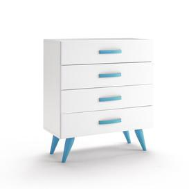 image-Pamplona 4 Drawer Chest of Drawers Just Kids Finish: Lacquered White / Blue