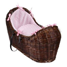 image-Dimple Moses Basket Clair De Lune Colour: Pink, Finish: Dark Brown