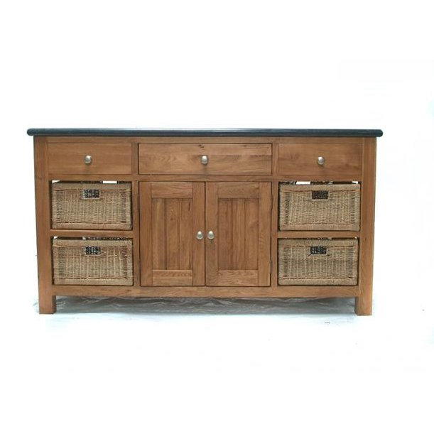 image-Evelyn Oak and Granite Kitchen Island with 3 Drawers and 2 Doors