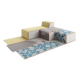 image-n 3 Bandas Modular sofa - 1 rug + 1 pouf Small + 1 pouf Large + 1 chaise longue by Gan Yellow,Grey,Turquoise