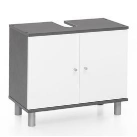 image-Mathewson 60cm Free-Standing Vanity Unit Base Mercury Row Colour/Finish: Grey/White
