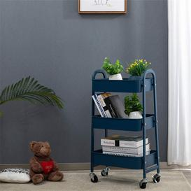 image-3-Tier Storage Cart Rolling Trolley Cart Metal Utility Shelves With Wheels And Handles For Kitchen Makeup Bathroom Office, Khaki Yellow