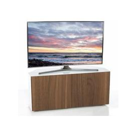 image-Nexus Corner TV Stand In White Gloss Walnut Wireless Charging