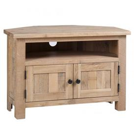image-Vancouver Sawn Solid Oak White Wash Furniture Corner TV Unit