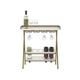 image-Cosmoliving By Cosmopolitan Trevia Folding Wine Rack/Serving Table - White/Gold