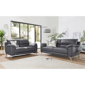 image-Madrid Grey Leather 3+2 Seater Sofa Set