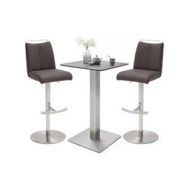 image-Soho Glass Bar Table With 2 Giulia Brown Stools