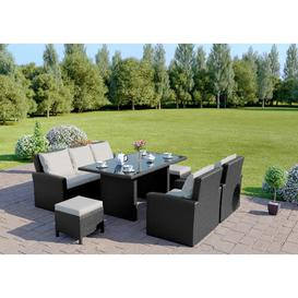 image-Lasker 7 Seater Rattan Sofa Set Dakota Fields Colour: Dark Grey/White