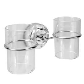 image-Suction Cup Double Toothbrush Tumbler Holder - M&w