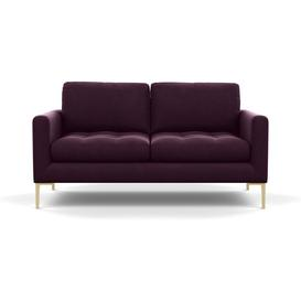 image-Heal's Eton 2 Seater Sofa Velvet Grape Brass Feet