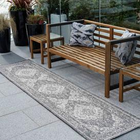 image-Grey Distressed Weatherproof Outdoor Garden Runner Rug - Adana