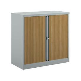 image-Bisley Economy Tambour Cupboard, 100wx47dx102h (cm), Silver / Beech