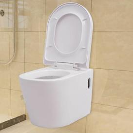image-Colston Ceramic Wall Hung Toilet with Soft Close Seat Belfry Bathroom Finish: White