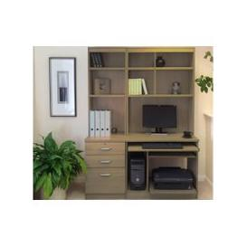 image-Small Office Desk Set With 3 Drawers, Computer Workstation & Hutch Bookcases (English Oak)