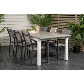 image-Jayesh 6 Seater Dining Set Sol 72 Outdoor Colour (Chair Frame): Black/Grey