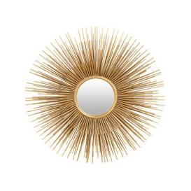 image-Gold Metal Sunburst Mirror 101 x 101 cm