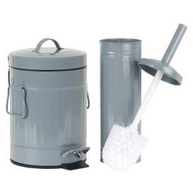 image-Hartleys Retro Metal Grey Pedal Bin & Toilet Brush Set