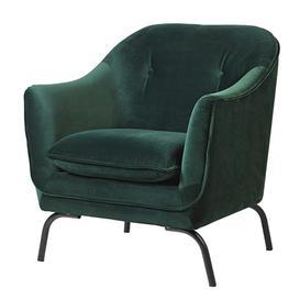 image-Emerald Green Velvet armchair
