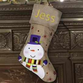 image-Snowman Personalised Christmas Stocking East Urban Home Colour: Glitter Gold