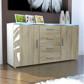 image-Faro Sideboard Vladon Body/Front colour: White (matt)/Burgundy (glossy), null: null, Includes lighting: Yes