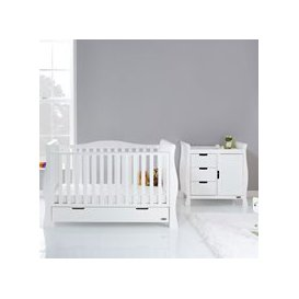 image-Obaby Stamford Luxe Cot Bed 2 Piece Nursery Furniture Set - White