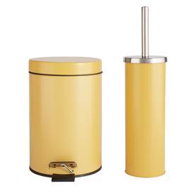 image-Argos Home Slow Close Bin and Toilet Brush Set - Mustard
