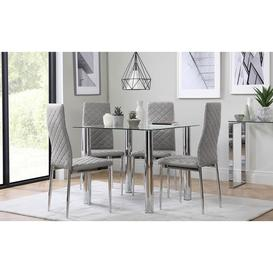 image-Nova Square Glass and Chrome Dining Table with 4 Renzo Light Grey Leather Chairs