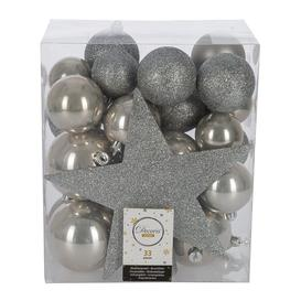 image-A by AMARA Christmas - Set of 33 Assorted Baubles and Tree Topper - Misty Grey