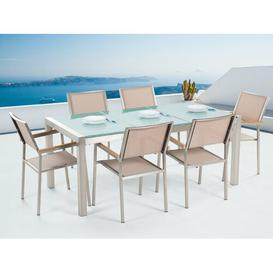 image-Lothen 6 Seater Dining Set Sol 72 Outdoor Colour (Chair Frame): Beige
