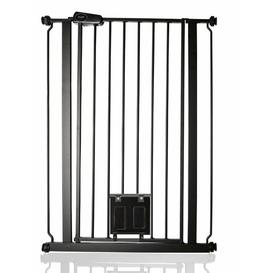 image-Maxen Safety Gate with Lockable Cat Flap Archie & Oscar Finish: Black, Size: 104 cm H x 84cm W