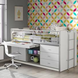 image-Briggs European Single Mid Sleeper Bed with Desk Isabelle & Max Colour: White