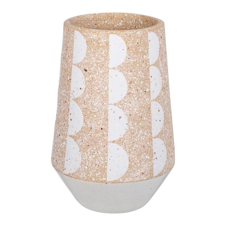 image-Cadence Vase Brown & White Small