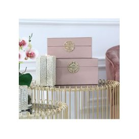 image-Set Of 2 Rose Pink And Gold Faux Leather Jewellery Boxes