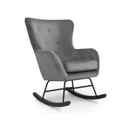 image-Alpine Brushed Velvet Rocking Chair In Grey