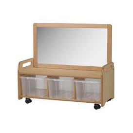 image-Playscapes Mobile Mirror Storage Unit With 3 Clear Tubs, Maple, Free Standard Delivery
