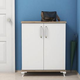 image-12 Pair Shoe Storage Cabinet Ebern Designs Finish: Walnut/White