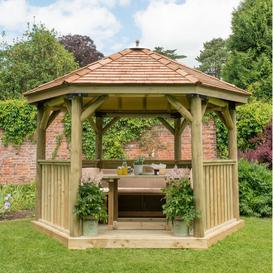 image-Furnished 3.8m x 3.3m Wooden Gazebo with Cedar Roof Sol 72 Outdoor